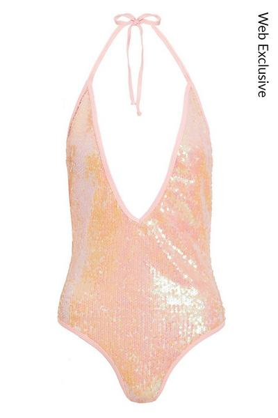 Pink Sequin Plunge Swimsuit